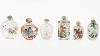 6 Chinese Painted Glass Snuff Bottles