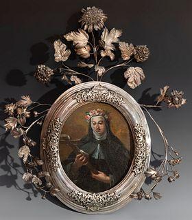 "Novo-Hispanic school of the XVIII century. ""Nun's pectoral with Santa Rosa de Lima"". Oil on panel."