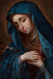 """Circle of MIGUEL CABRERA; XVIII century.  """"Dolorosa with legend"""".  Oil on canvas."""