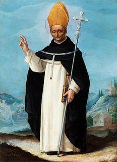 "Italian or Mexican school; XVIII century.  ""Saint Thomas of Villanueva"".  Oil on copper."