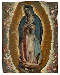 "Novo-Hispanic school, XVIII century.  ""Virgin of Guadalupe"".  Oil on copper."