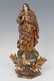 """Mexican school; XIX century.  """"Purisima"""".  Polychrome wood carving and elephant ivory."""