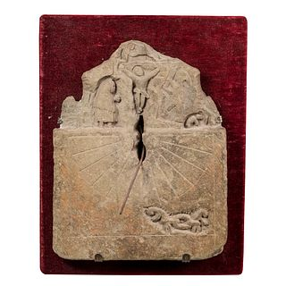 Sundial; Galician work; XVII century - XVIII century.  Stone.  It presents faults due to the passage of time.