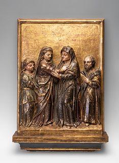 "Castilian School, XVI century.  ""The Visitation"".  Relief, gilded and polychrome."