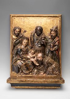 """Castilian School, XVI century.  """"The Epiphany.  Relief, gilded and polychrome."""