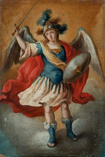 """Attributed to JUAN DE ESPINAL (Seville, 1714 - 1783).  """"St. Michael the Archangel.  Oil on canvas. Re-drawn."""