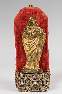"Andalusian School; XVII century.  ""Purisima"".  Gilded bronze."
