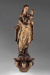 "Spanish School, XVIII century.  ""Virgin and Child.  Polychrome carving."