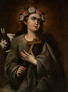 """Sevillian school, late seventeenth century.  """"Saint Rosalia"""".  Oil on canvas."""