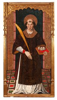 """Catalan school of the second half of the fifteenth century.  """"St. Stephen"""", ca. 1480.  Tempera painting on panel and gold background."""