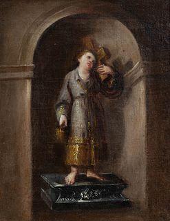 """DOMINGO MARTÍNEZ (Seville, 1688 - 1749), attributed.  """"Infant Jesus in niche.  Oil on canvas."""