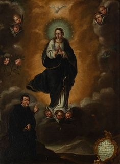 """Andalusian School, ca.1760.  """"Immaculate Conception with donor D. Francisco Lasso de Castilla, Bishop of Malaga"""".  Oil on canvas."""