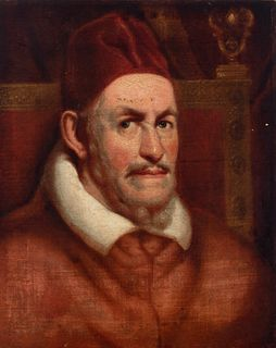 """Spanish school of the seventeenth century. Follower of DIEGO DE VELÁZQUEZ (Seville, 1599 - Madrid, 1660).  """"Portrait of Pope Innocent X"""".  Oil on canv"""