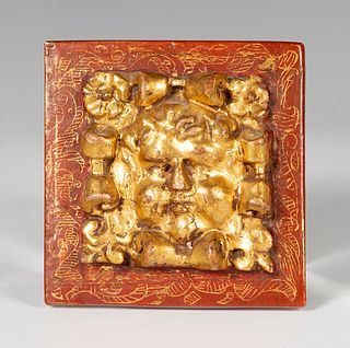 Altarpiece element. Spain, ca. 1600.  Carved, polychrome and gilded wood.