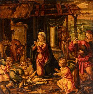 "Spanish school of the first half of the XVII century.  ""Nativity.  Oil on panel."