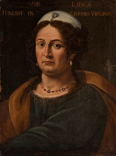 """Roman school; second half of the 17th century.  """"Libyan Sibyl"""".  Oil on canvas, Relined."""