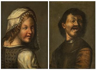 """Italian school of the XVIII century, following Dutch models of the XVII century.  """"Pair of characters"""".  Pair of oils on copper."""