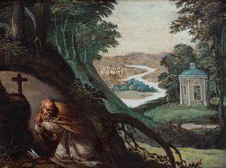 "Flemish school of the XVII century.  ""Saint Anthony Abbot praying"".  Oil on copper. Frame of the nineteenth century."