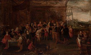 "FRANS FRANCKEN II (Antwerp, Belgium, 1581 - 1642).  ""The Wedding at Cana"".  Oil on oak panel. Cradled"