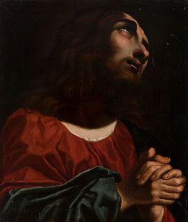 "Italian school; 17th century.  ""Christ in prayer"".  Oil on canvas. Relined."