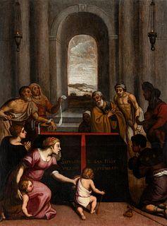 "Spanish school of the mid-sixteenth century.  ""Sepulchre of St. Felix Valesio"".  Oil on panel."