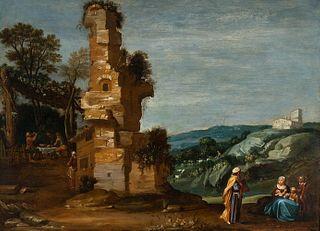 "Dutch school, XVII century.  ""The departure of Abraham"".  Oil on panel."