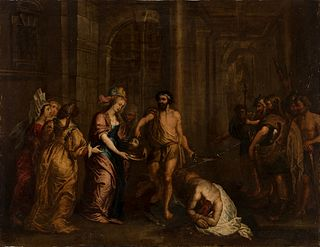 """Flemish school; first half of the 18th century.  """"Martyrdom of St. John the Baptist"""".  Oil on copper."""
