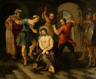 """Flemish school of the mid-seventeenth century.  """"The mockery of Christ"""".  Oil on copper."""