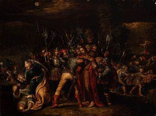"Flemish school of the seventeenth century. Attributed to FRANS FRANCKEN II (Antwerp, Belgium, 1581 - 1642).  ""The kiss of Judas"".  Oil on panel. Cradl"