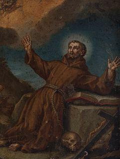 "Italian school; XVII century.  ""St. Francis of Assisi in ecstasy"".  Oil on copper."
