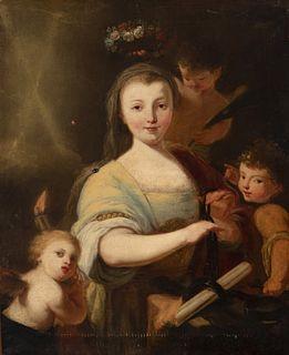 "Italian school; first half of the eighteenth century.  ""Portrait of lady are Santa Teodora"".  Oil on canvas. Relined."