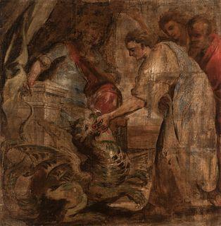 "Flemish school; 17th century.  ""Amisorades and the Chimera"".  Oil on serge."