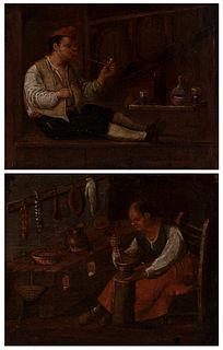 "Flemish School, David TENIERS Circle (Antwerp, 1610 - Brussels, 1690); second third of the seventeenth century. ""Interior scenes"". Oil on canvas. Reli"