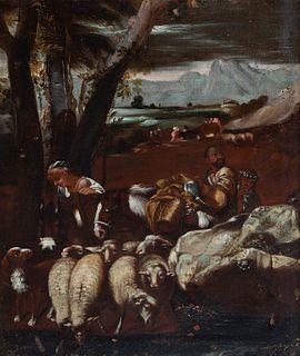 "Circle of ANDREA DI LIONE (Naples, 1610 - 1685).  ""Pastoral scene"".  Oil on canvas. Relined Period frame."