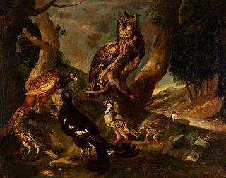 "Dutch School, XVII century.  ""Birds"".  Oil on canvas."