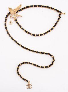 Chanel Gold-Tone Link Belt Crystal Eagle w Charm