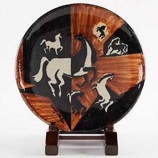 Adolf Dehn Ceramic Platter w/ Stand