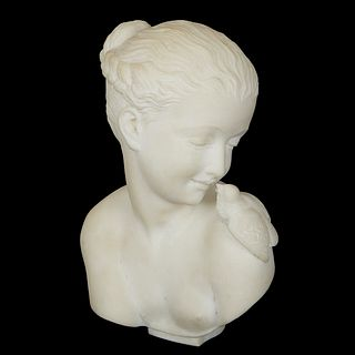 Marble Bust of Young Girl and Bird