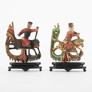 Miniature Wooden Chinese Horse Riders