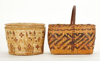 Grp: 2 Antique Native American Baskets Cherokee
