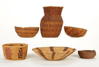 Grp: 6 Native American Baskets