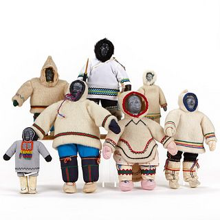 Grp 7: Inuit Dolls w/ Stone Heads & Cotton Twill Clothing - Some Named