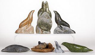 Group of 7 Inuit Soapstone Seals