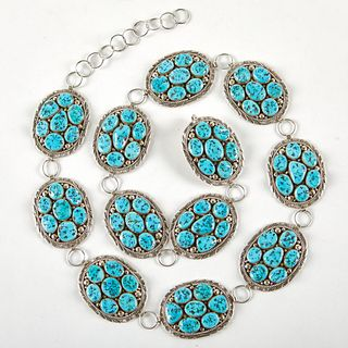 M. Spencer Navajo Sterling Turquoise Concho Belt