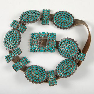 Large Navajo Early Pawn Concho Belt