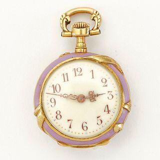 Enamel and 18K Gold Pocket Watch