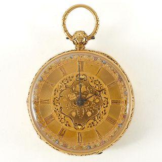18K Gold English Pocket Watch - 1845