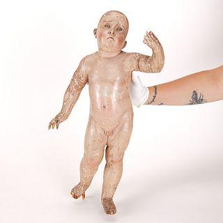 European Carved Christ Child Figure