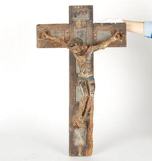 Spanish Colonial Polychrome Wood Crucifix