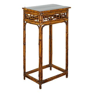 Tall Bamboo Side Table w/ Fretwork